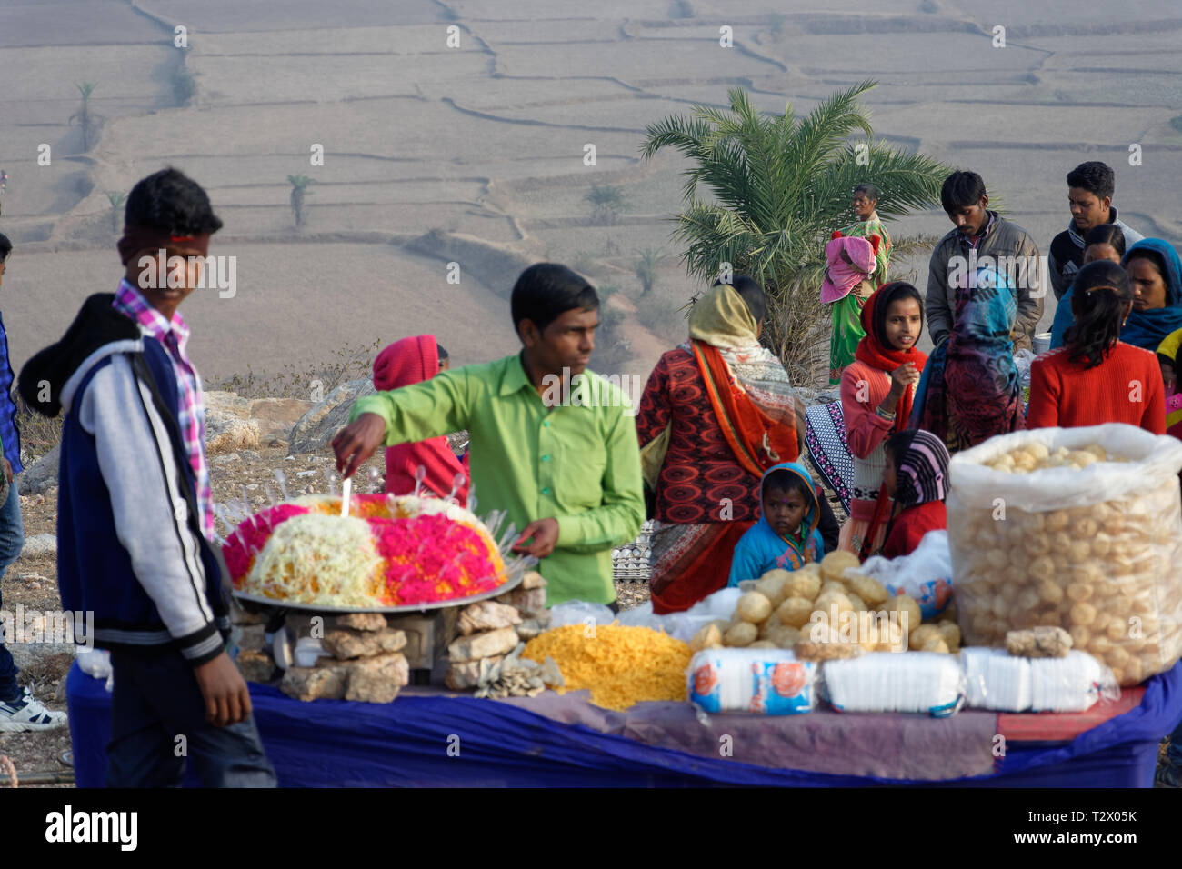 Local people selling street food in an Indian hilltop rura - Stock Image