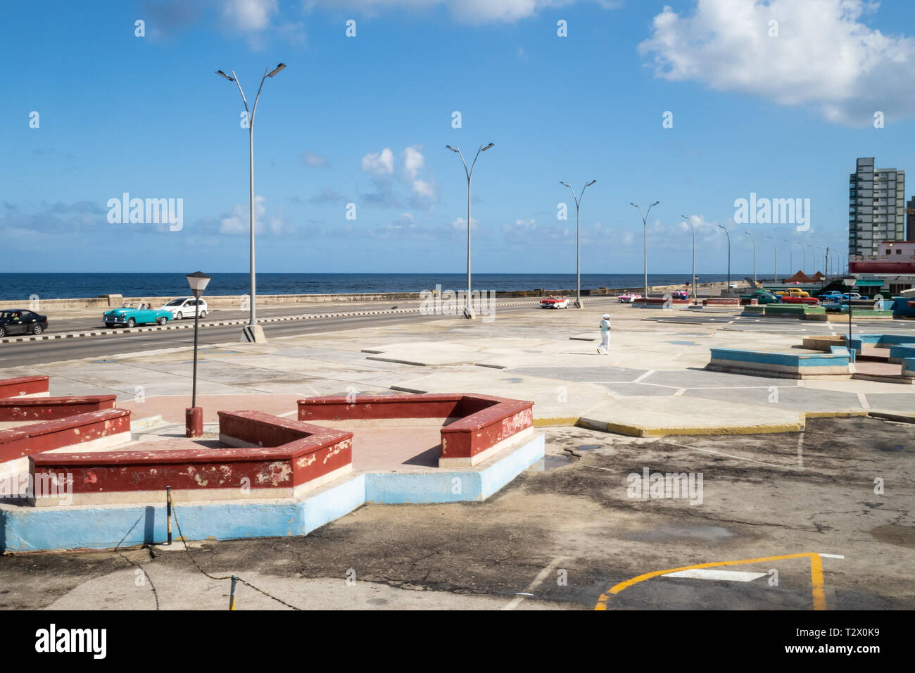 Along the Malecon, Havana, Cuba, 1950s recreation area - Stock Image