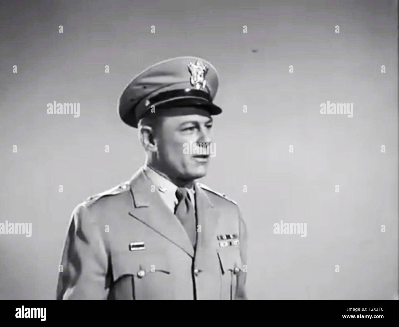 Army and navy screen from Plan 9 From Outer space - Lyle Talbot - Ed Wood - Stock Image