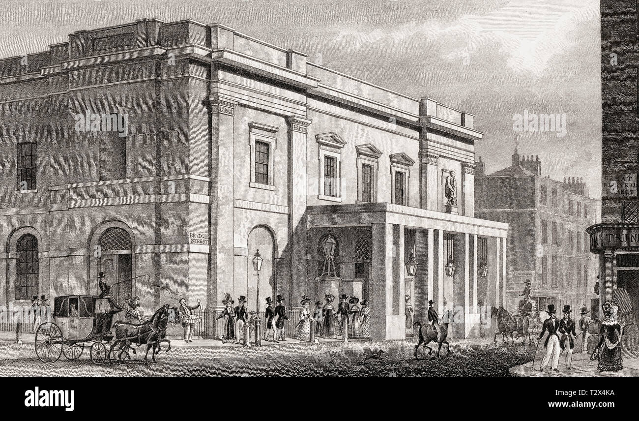 The Theatre Royal, Drury Lane, London, UK, illustration by Th. H. Shepherd, 1826 - Stock Image