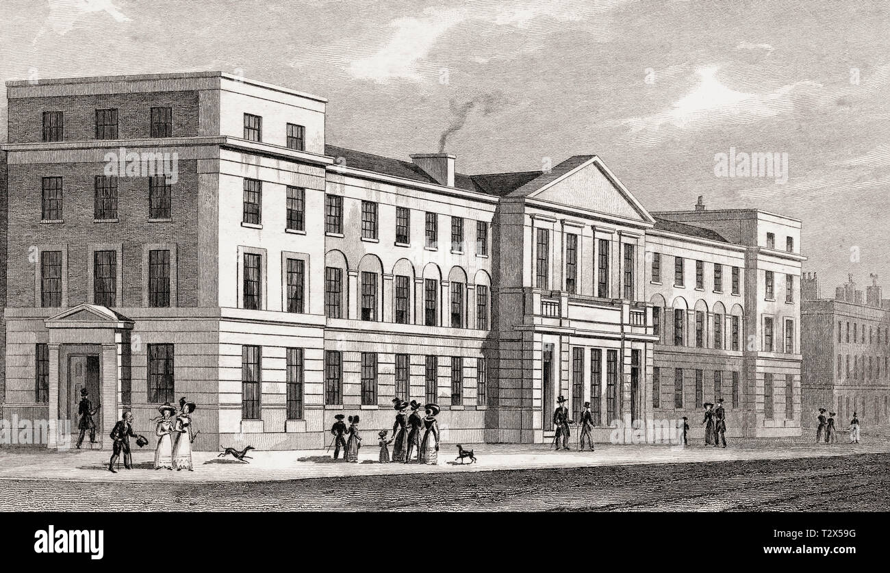 College of the London Missionary Society, London, illustration by Th. H. Shepherd, 1826 - Stock Image
