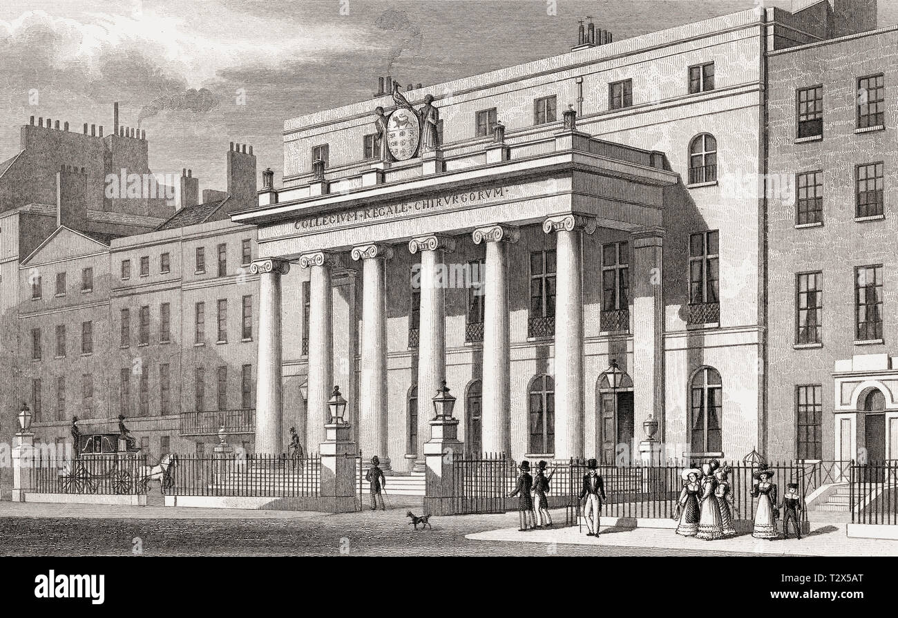 The Royal College of Surgeons of England, London, illustration by Th. H. Shepherd, 1826 - Stock Image