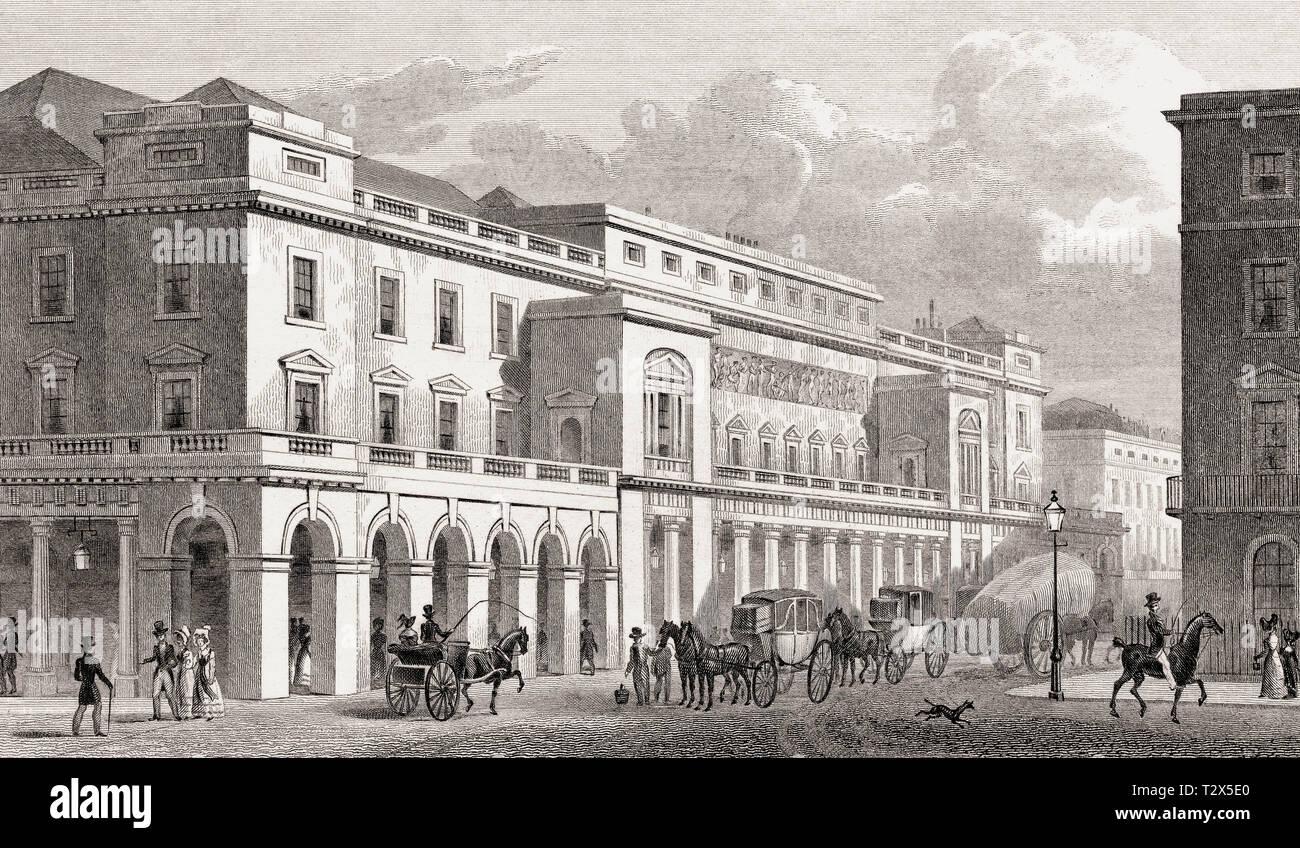 The Italian Opera, Haymarket, London, UK, illustration by Th. H. Shepherd, 1828 - Stock Image