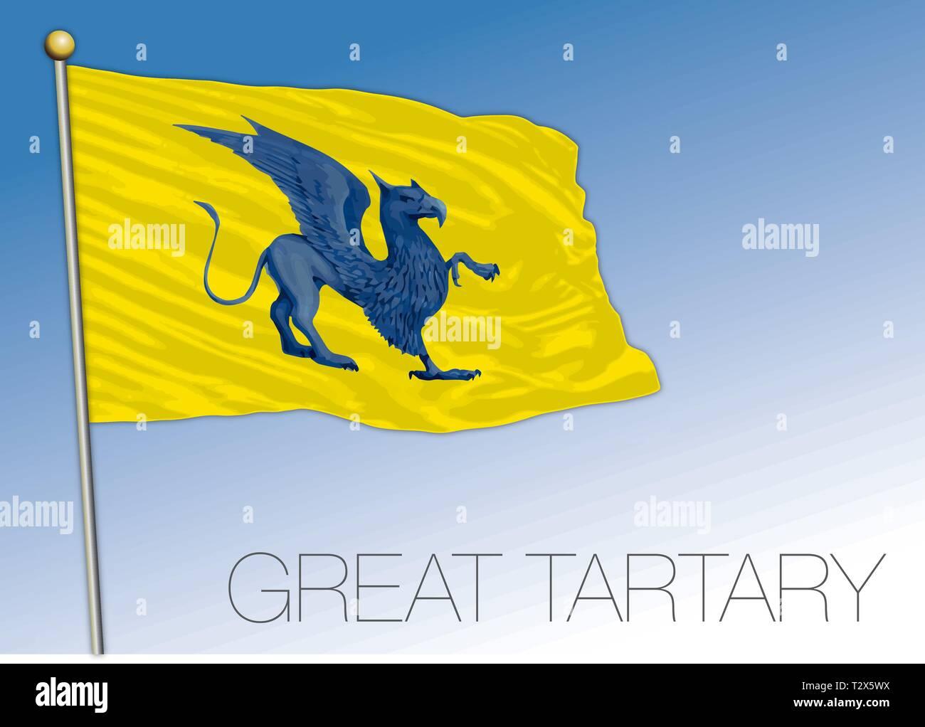 Great Tartary historical flag, eurasia - Stock Image