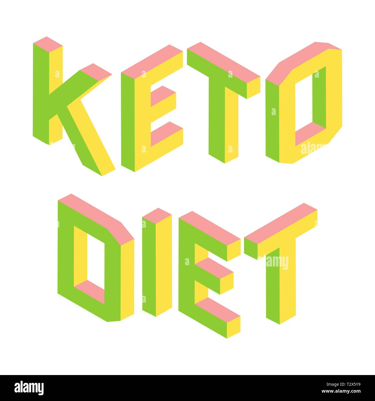 2f007af8ca40c Ketogenic, Keto diet, colorful 3d letters isolated, green and pink logo,  healthy