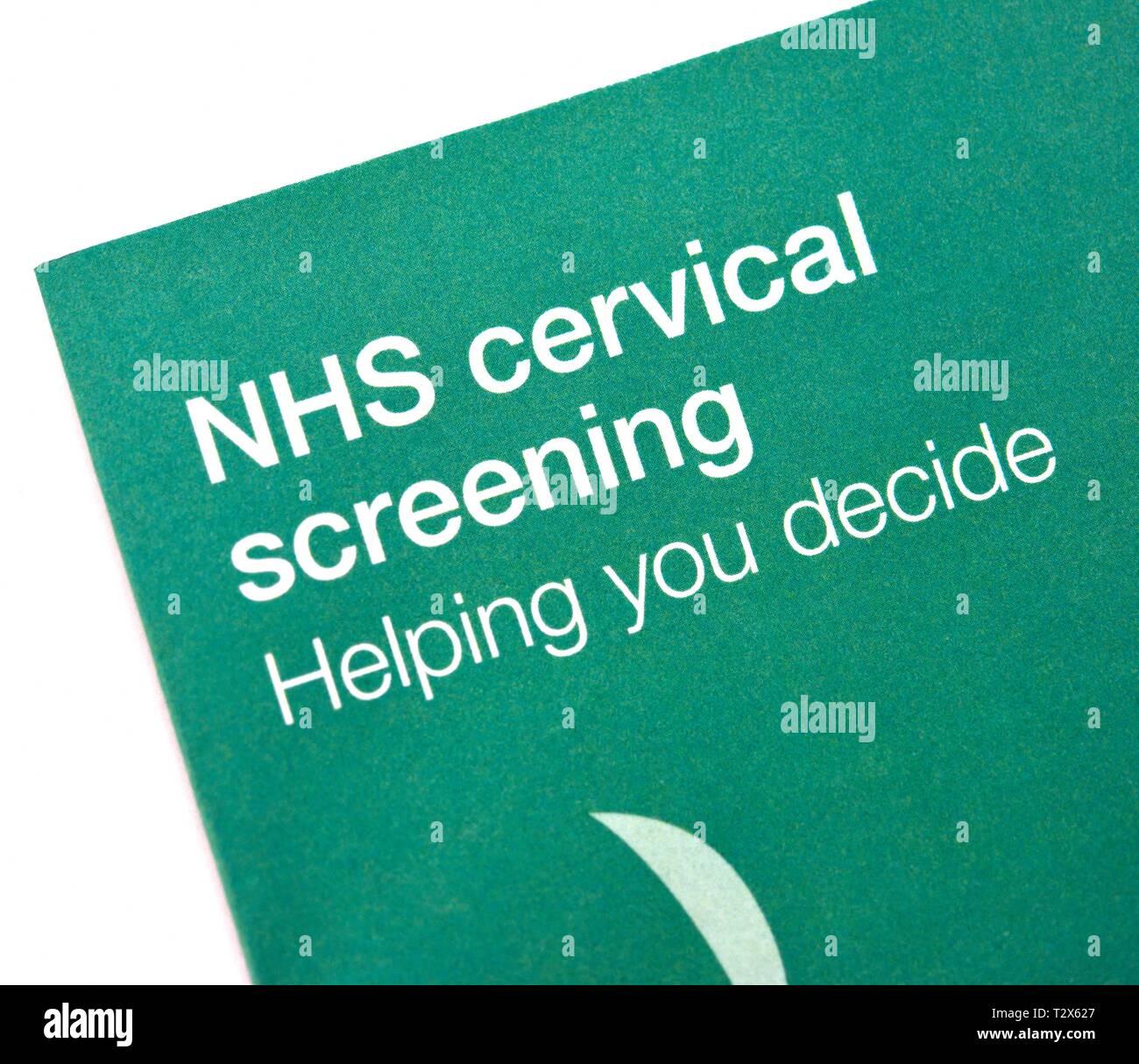 NHS cervical screening leaflet Stock Photo