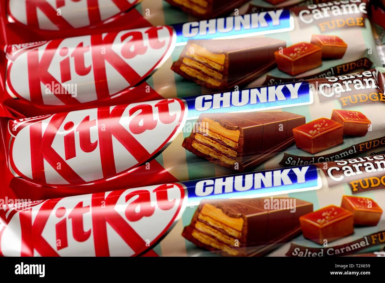Kitkat Chunky,Salted Caramel fudge Stock Photo