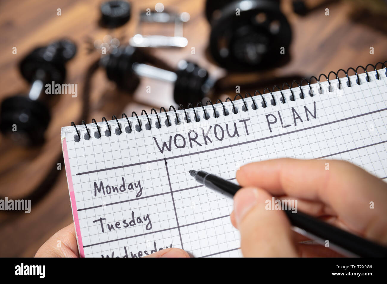Close-up Of A Human's Hand Writing Workout Plan On Diary In The Gym - Stock Image