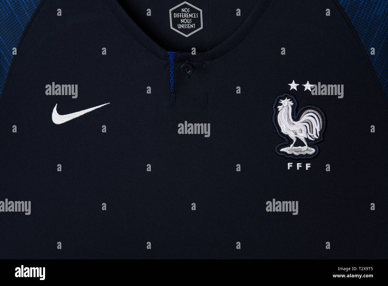 hot sale online da12a c172c Close up of French National Football team kit. FIFA World ...