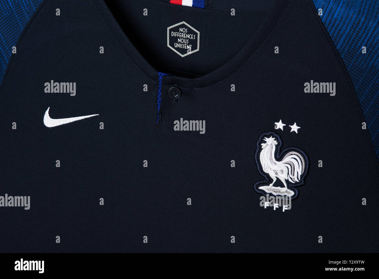hot sale online d2688 1c949 Close up of French National Football team kit. FIFA World ...