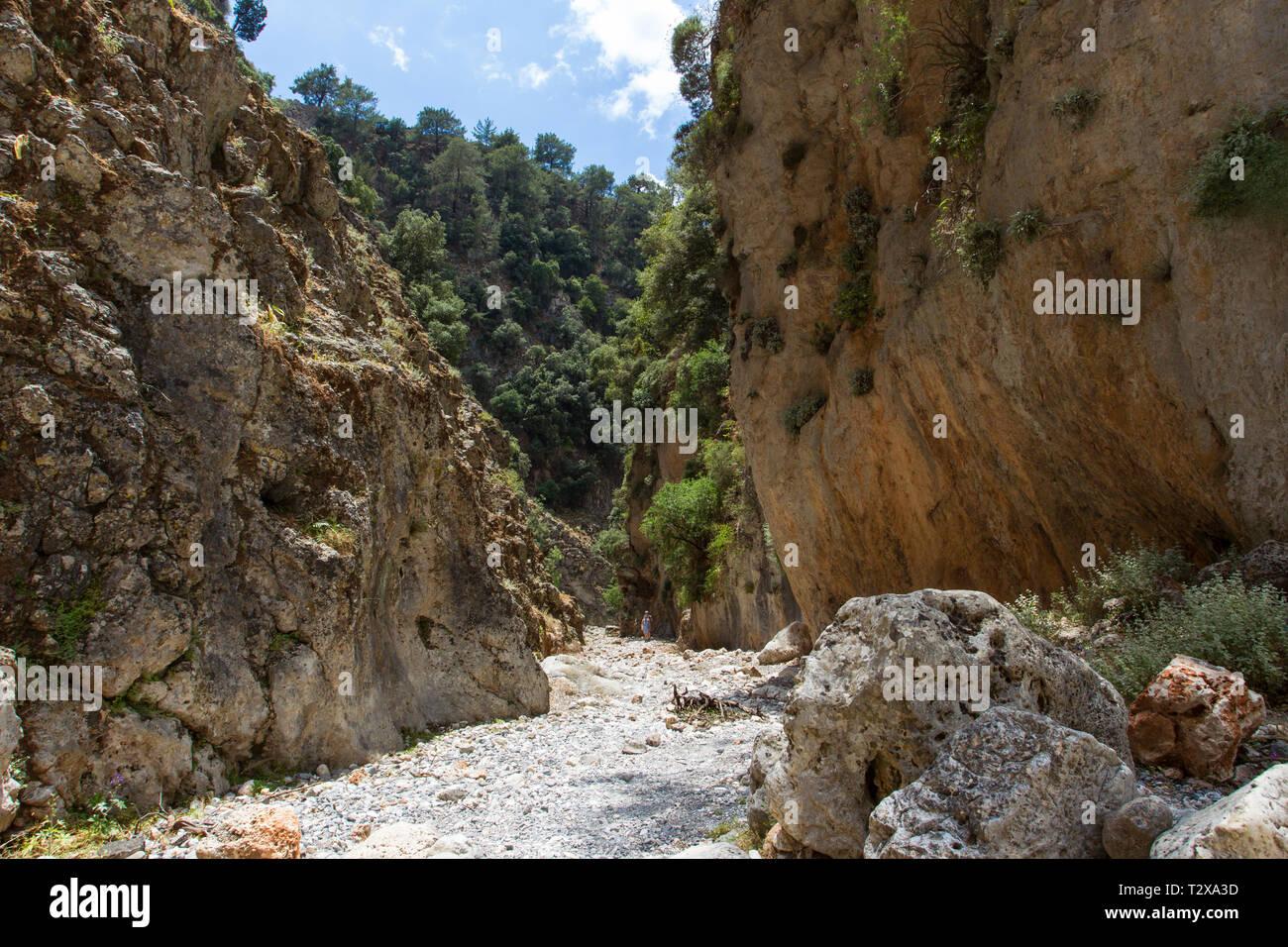 Schlucht bei Agios Nikolaos, gorge near Agios Nikolaos Stock Photo