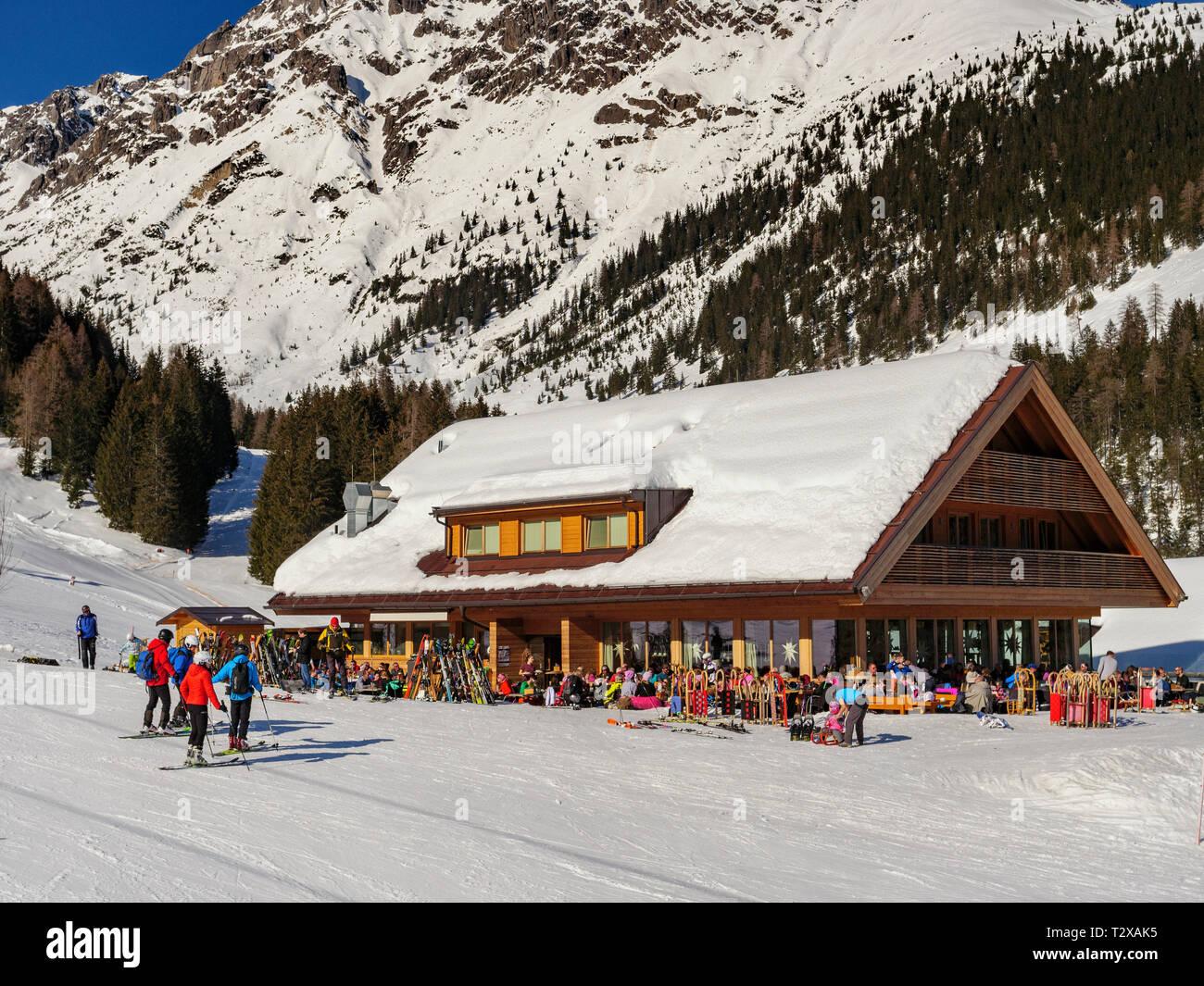 winter sports, alp  Untermarkter Alm, skiing area Hochimst, Imst, Tyrol, Austria, Europe - Stock Image