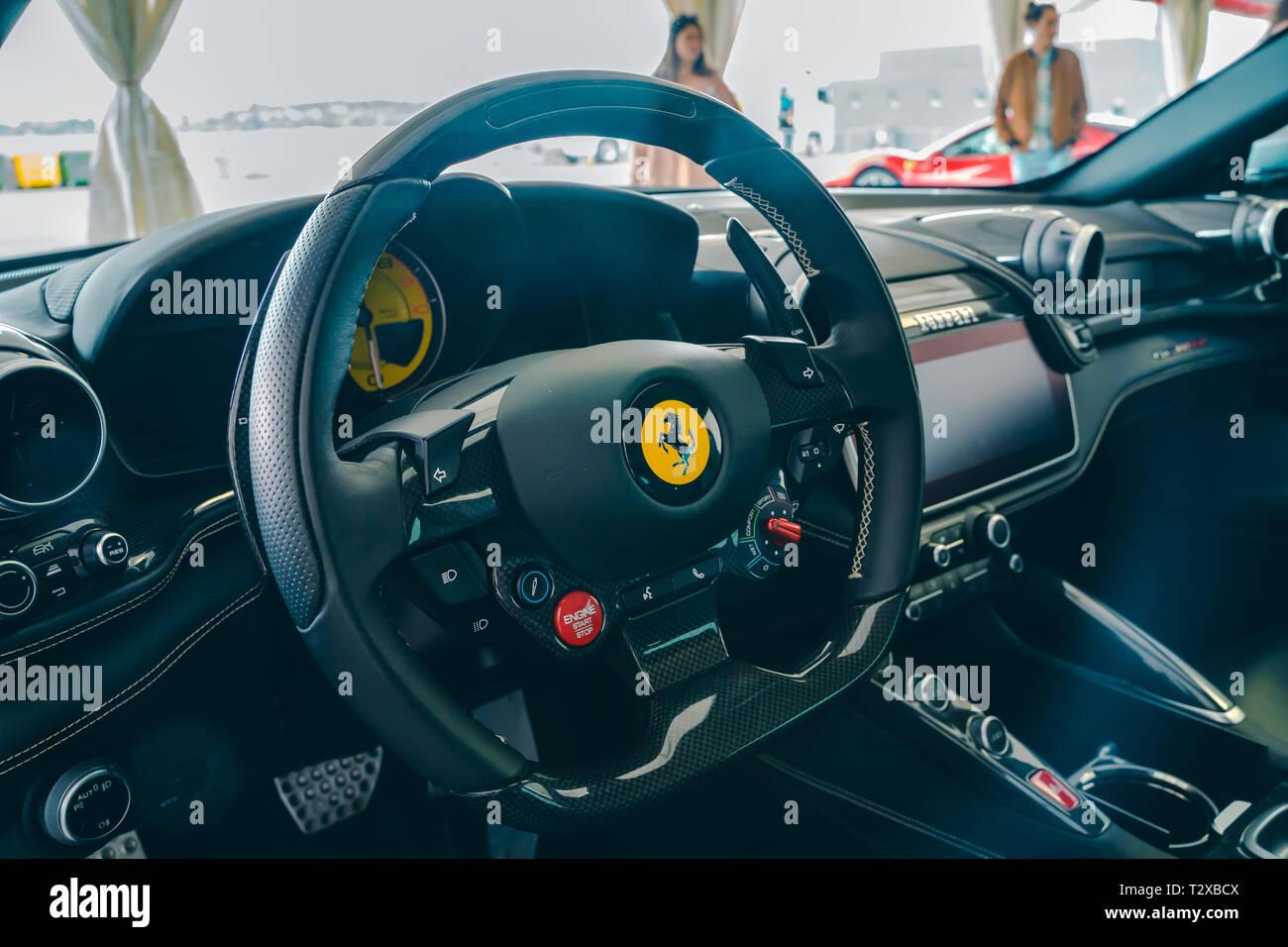 Valencia,Spain , March 30, 2019 Steering wheel of Ferrari