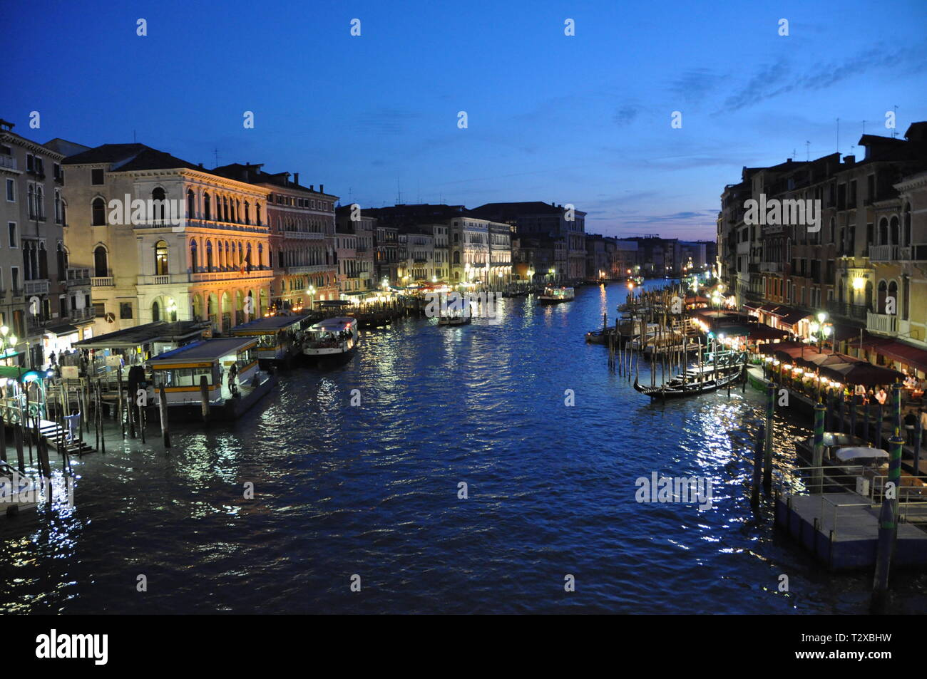 Nightime Grand Canal - Stock Image