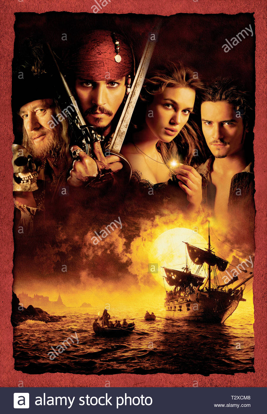 GEOFFREY RUSH, JOHNNY DEPP, KEIRA KNIGHTLEY, ORLANDO BLOOM, PIRATES OF THE CARIBBEAN: THE CURSE OF THE BLACK PEARL, 2003 - Stock Image