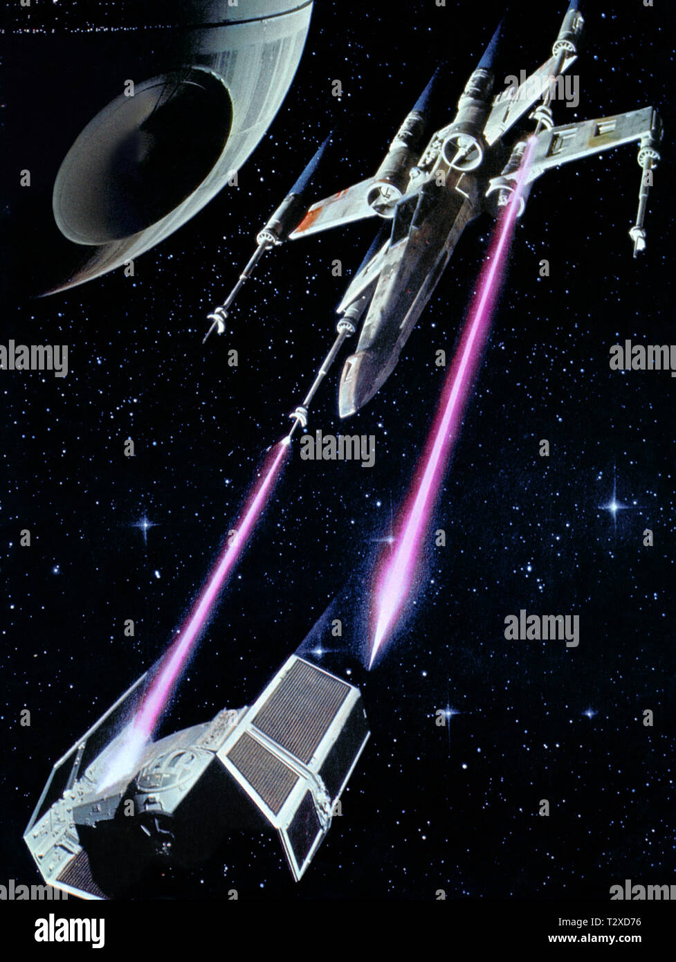 X-WING FIGHTER, TIE FIGHTER, STAR WARS: EPISODE IV - A NEW HOPE, 1977 Stock Photo