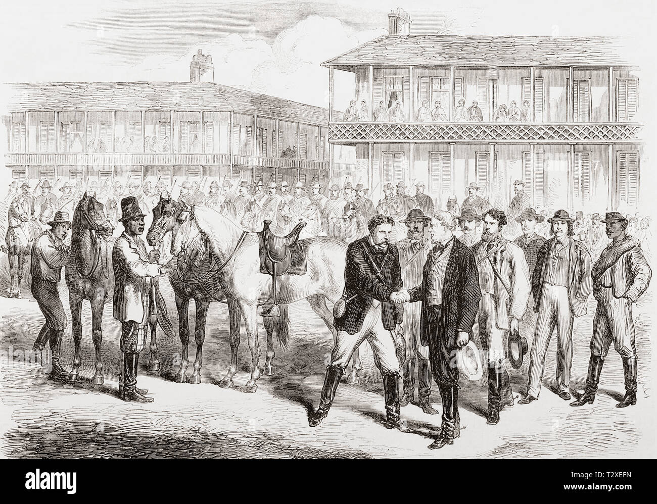 The last days of the Confederate Government, the conclusion of the American Civil War.  President Davis bidding farewell to his escort and staff in the square at Washington, Georgia two days before his capture.  Jefferson Finis Davis, 1808 – 1889. American politician who served as the only President of the Confederate States from 1861 to 1865.  From The Illustrated London News, published 1865. - Stock Image