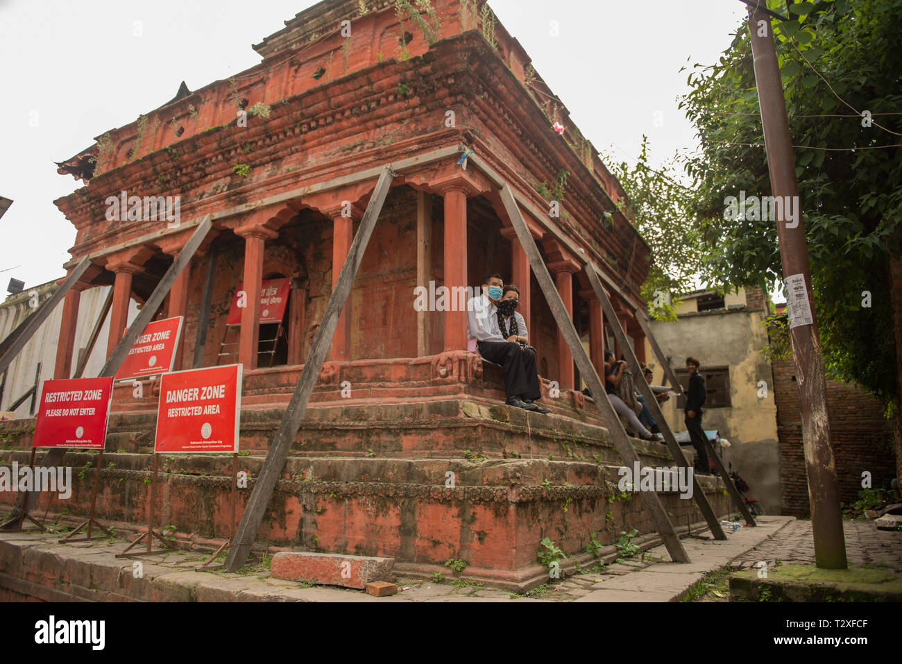 A temple in Durbar Square, Katmandu, after the earthquake - Stock Image