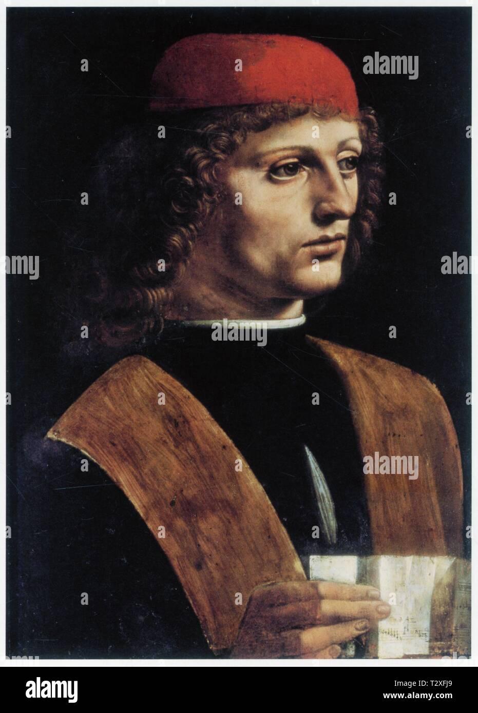 LEONARDO DA VINCI.PORTRAIT OF A YOUNG MAN.1490.OIL ON WOOD.44.7 CM X 32 CM - Stock Image