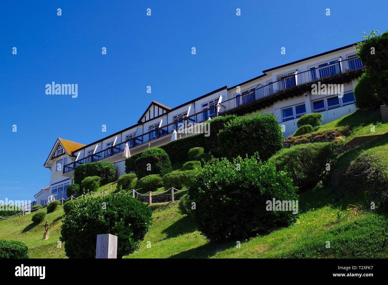 The Cottage Hotel at Hope Cove on a Sunny Summers Day. South Hams, Devon, UK. - Stock Image