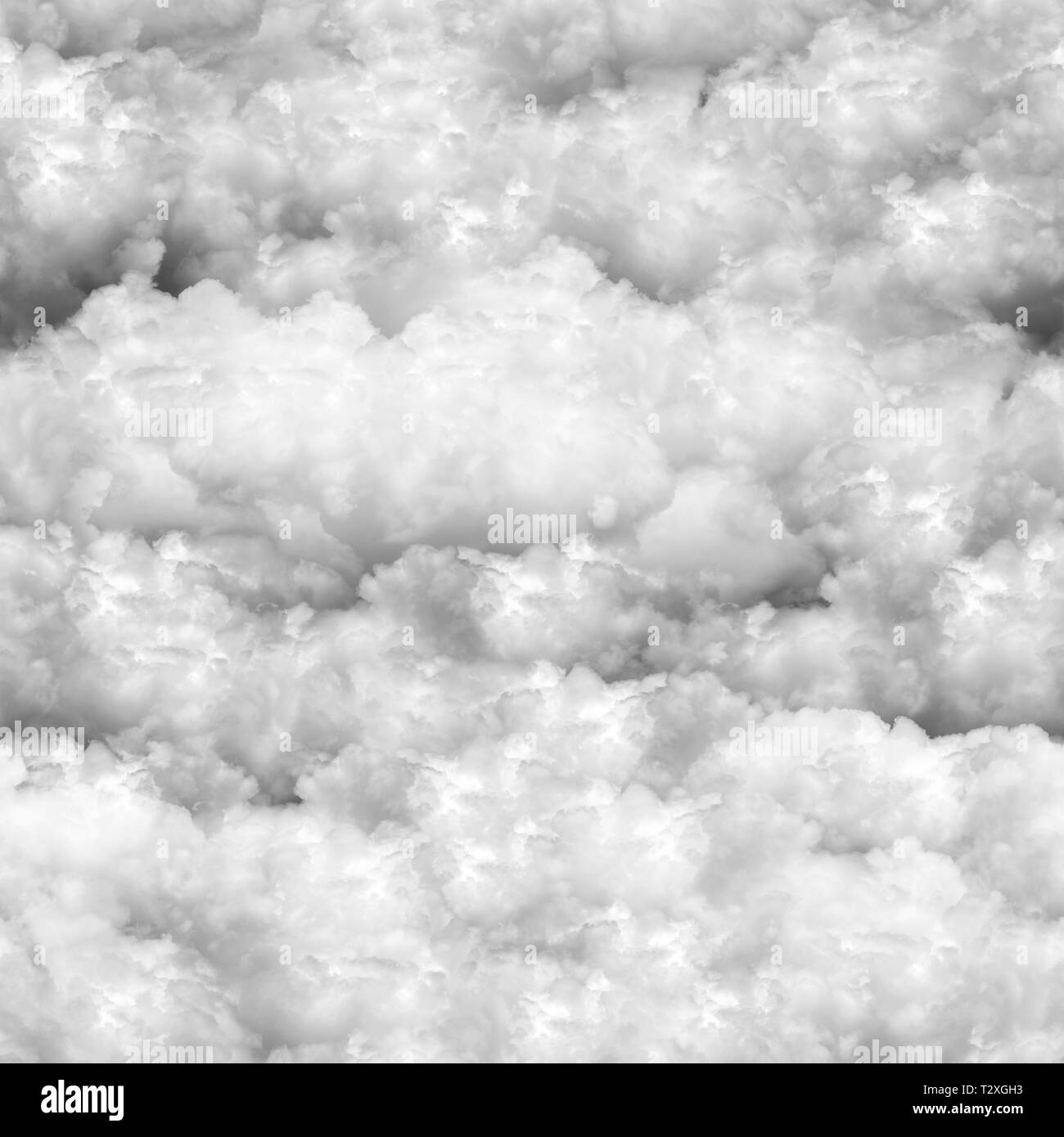 seamless photographic clouds natural background, black and white - Stock Image