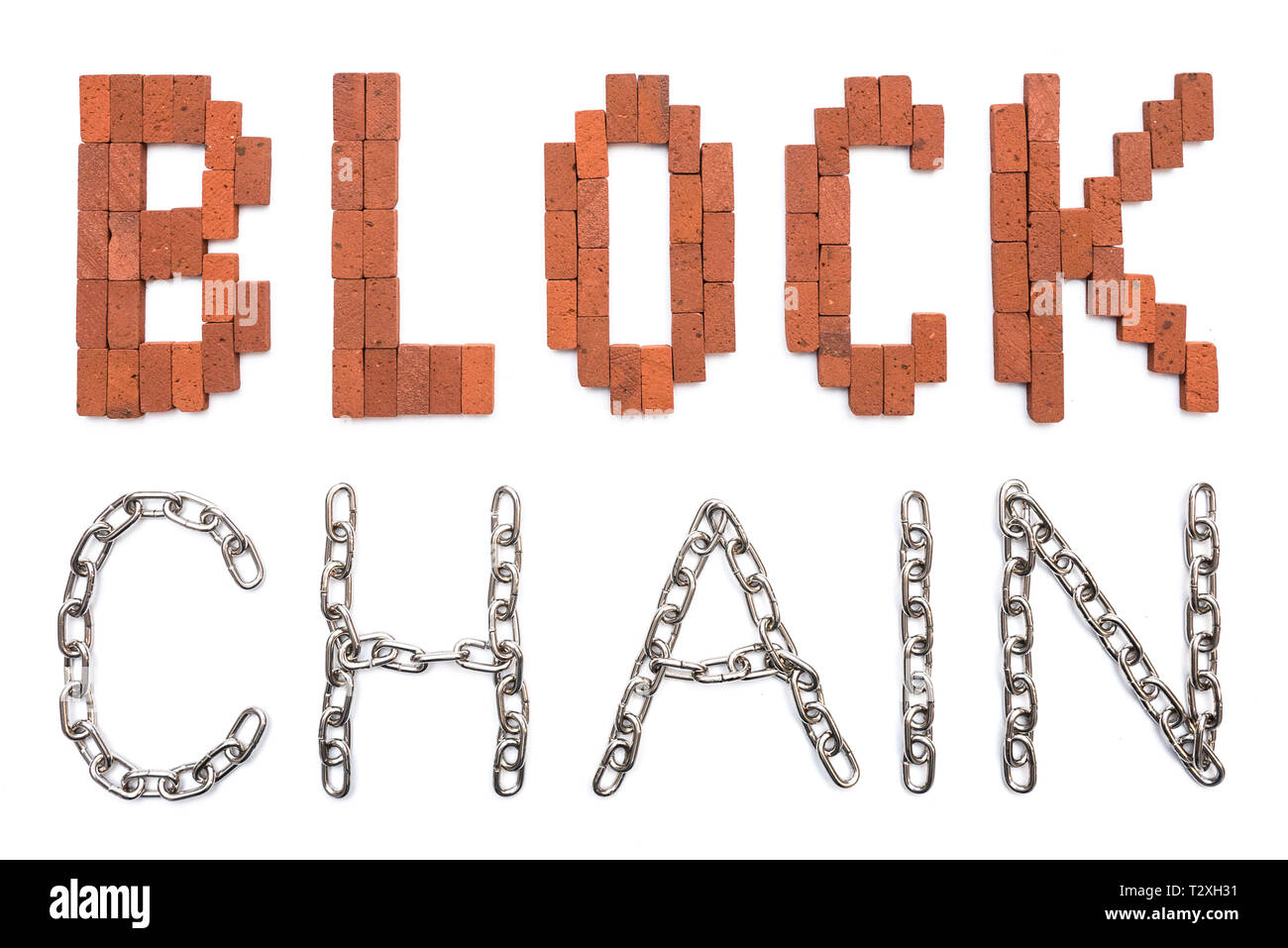 Blockchain illustration written with bricks and chains to visualize this complex digital technology - Stock Image
