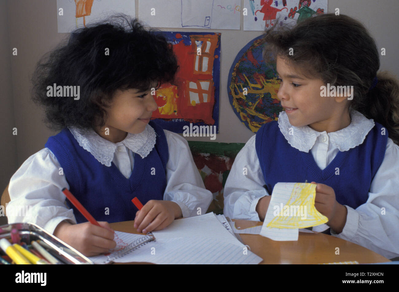 two little girls in class Stock Photo