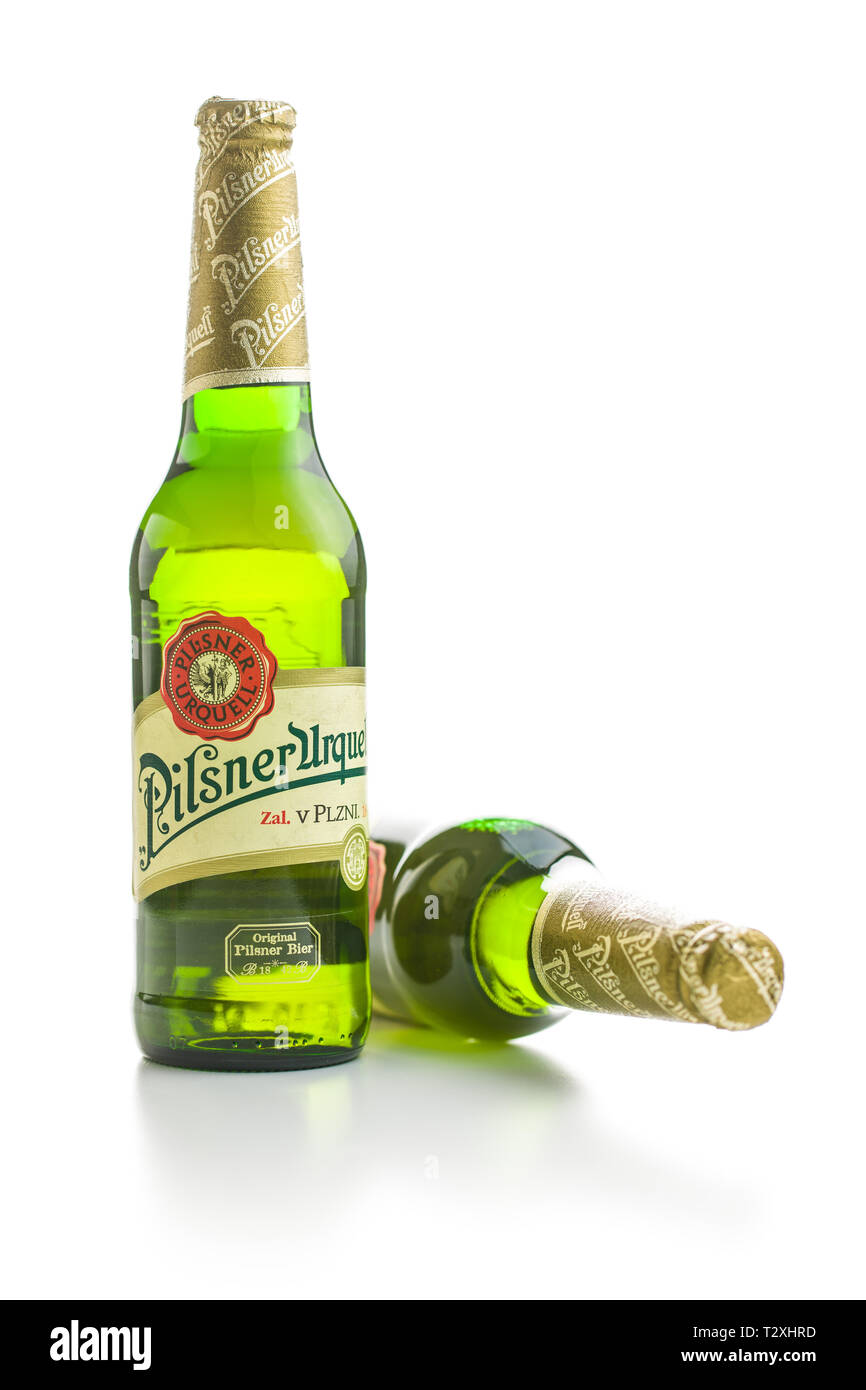 Pilsner Urquell lager beer bottle isolated on white background
