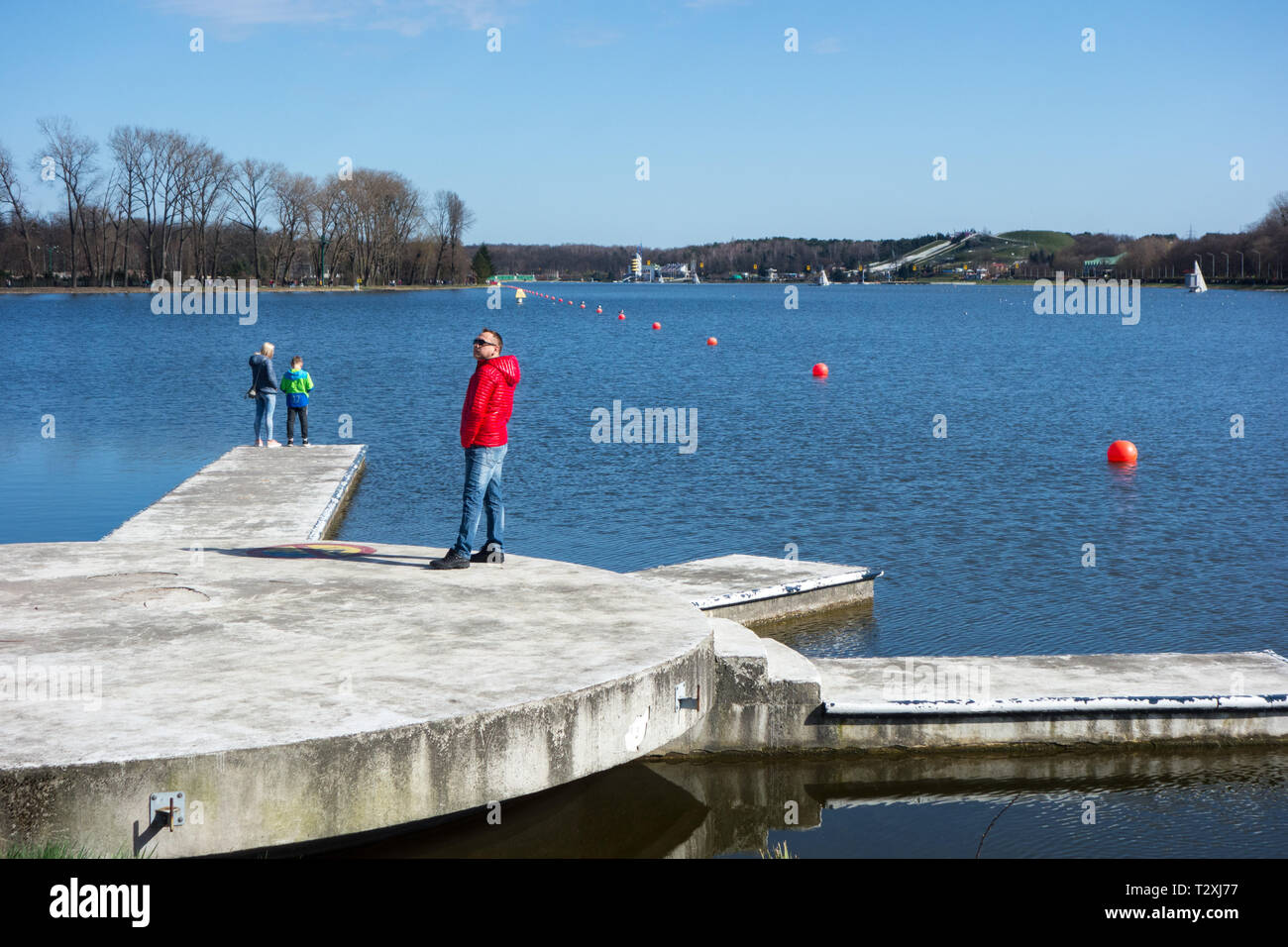 Lake Malta, or  Maltański Reservoir, is an artificial lake in Poznań, Poland. It was formed in 1952 as a result of the damming of the Cybina river - Stock Image