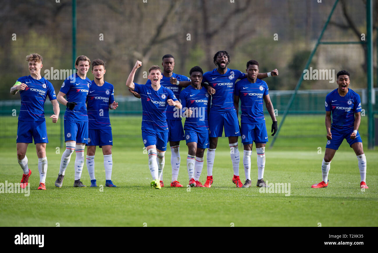 Chelsea Players Celebrate Winning On Penalties During The Uefa Youth League Quarter Final Match Between Chelsea U19 And Dinamo Zagreb U19 At Stamford Stock Photo Alamy