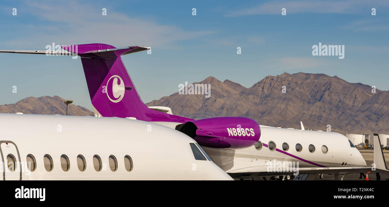 LAS VEGAS, NEVADA, USA - FEBRUARY 2019: Close up view of private executive jets parked at McCarran International Airport in Las Vegas. - Stock Image