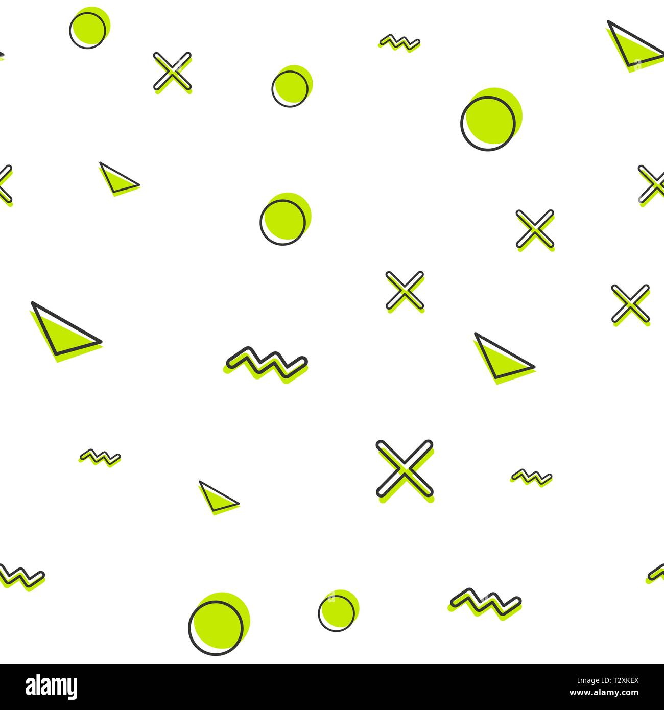 Random geometric shape pattern, abstract background in 80s