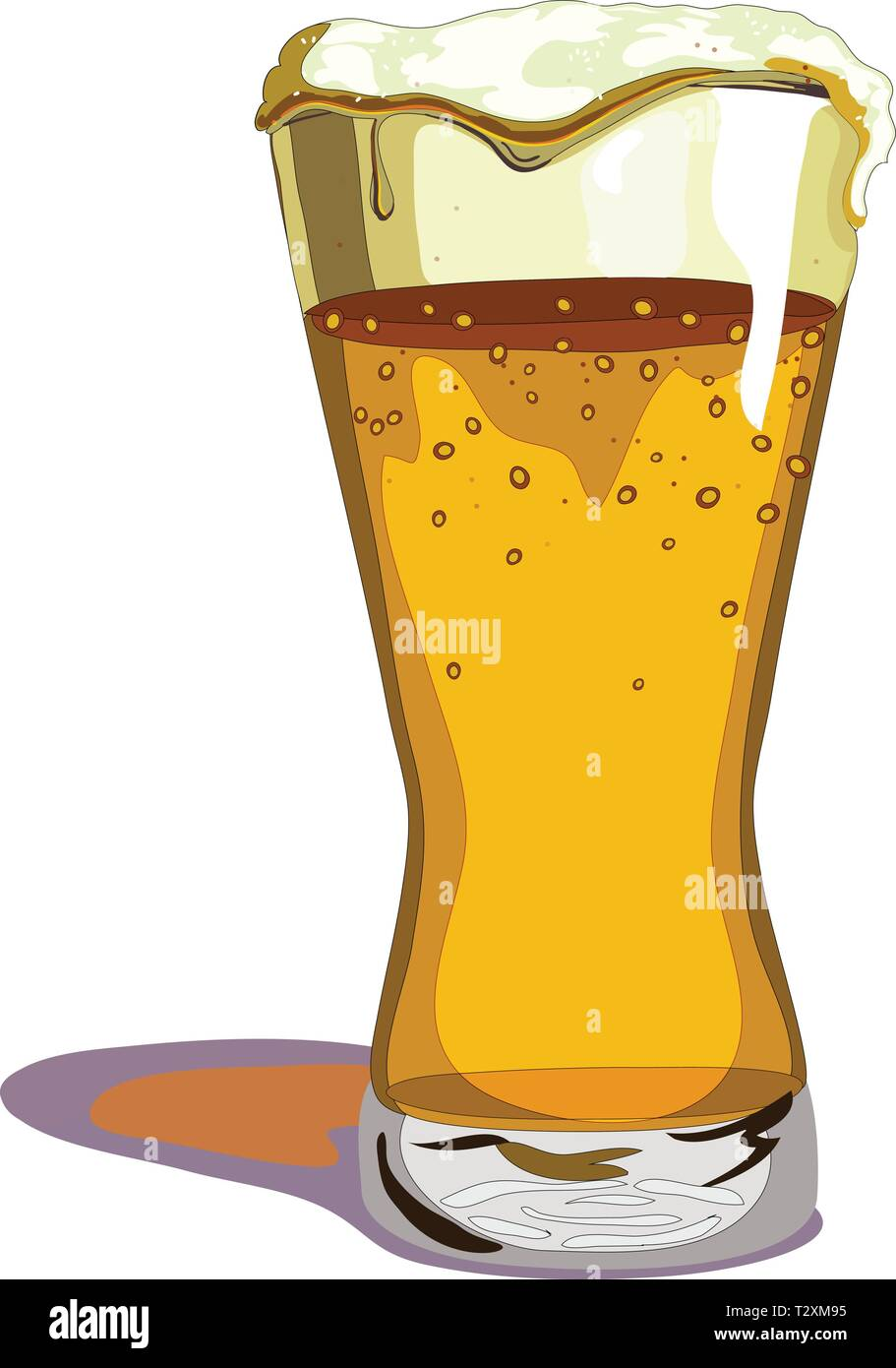 Glass of beer overflowing, with a big head of foam - Stock Vector