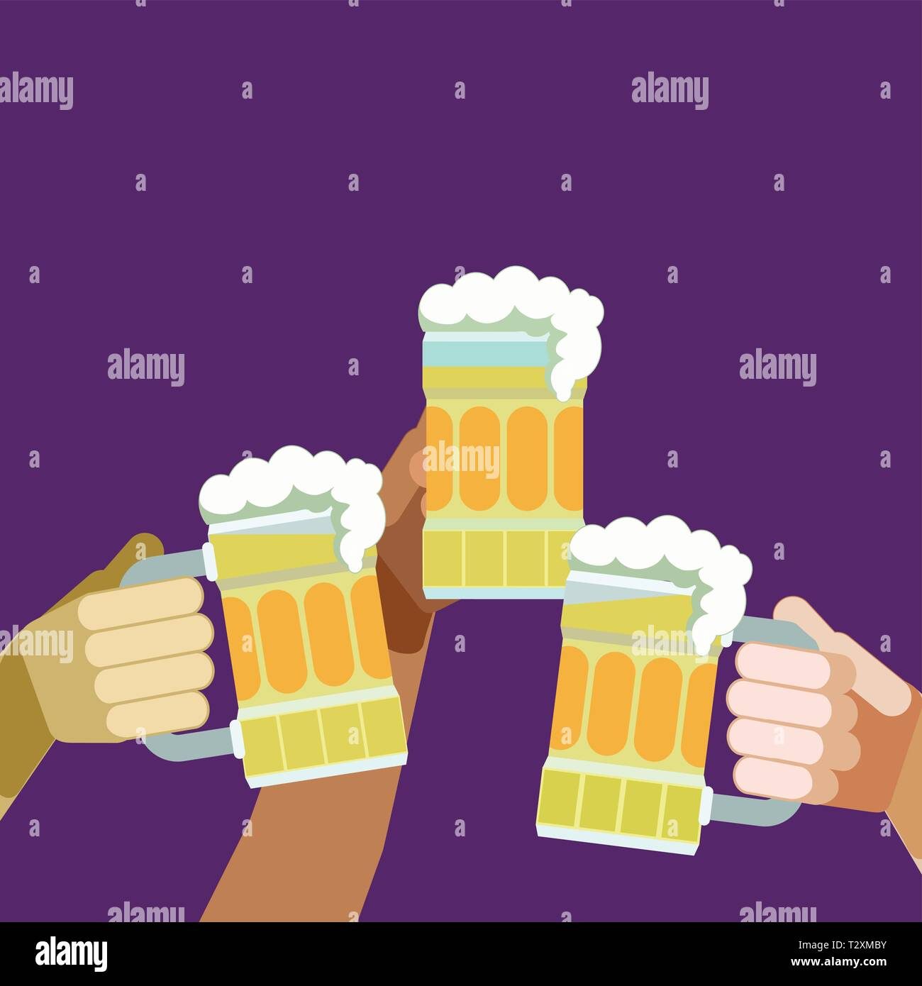 Beer mug toast. 3 Arms and 3 beer mugs, glasses raised in a toast - Stock Vector