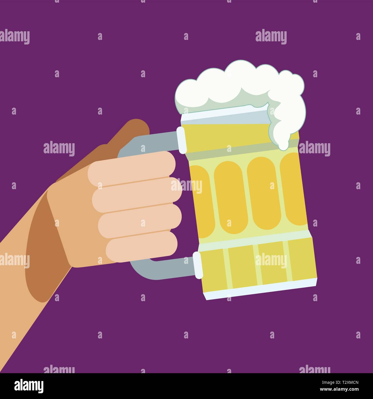 Beer mug and arm raised in a toast - Stock Vector