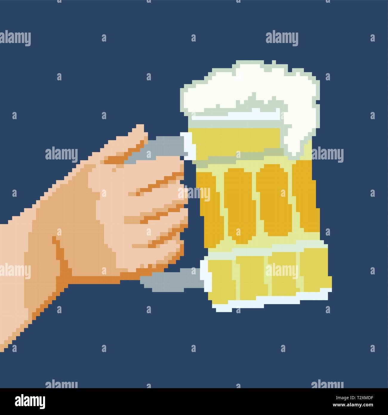 Pixel image of an arm with a  beer mug toast in a raised glass pose - Stock Vector