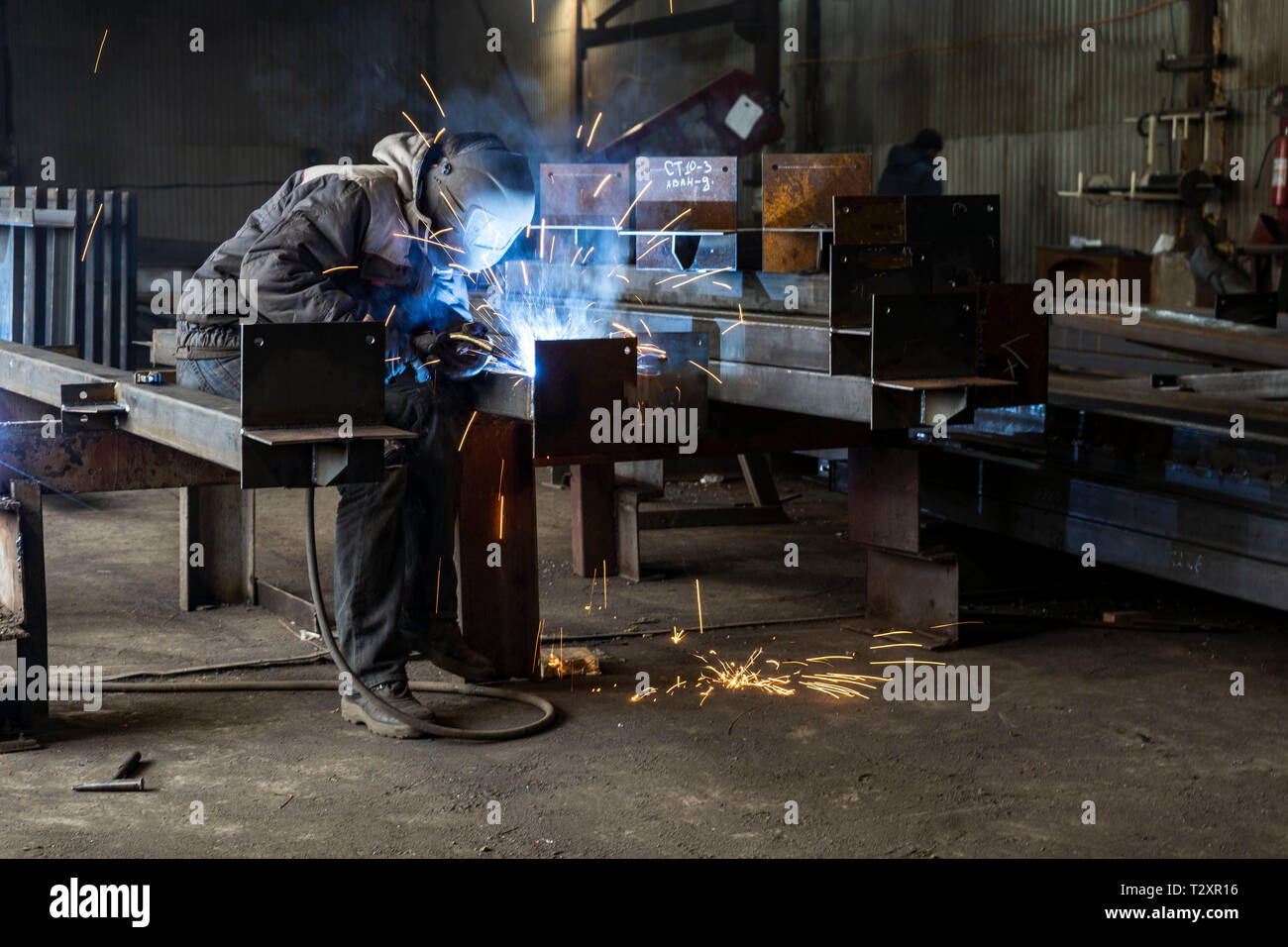 Welding with sparks by Process fluxed cored arc welding ,Industrial
