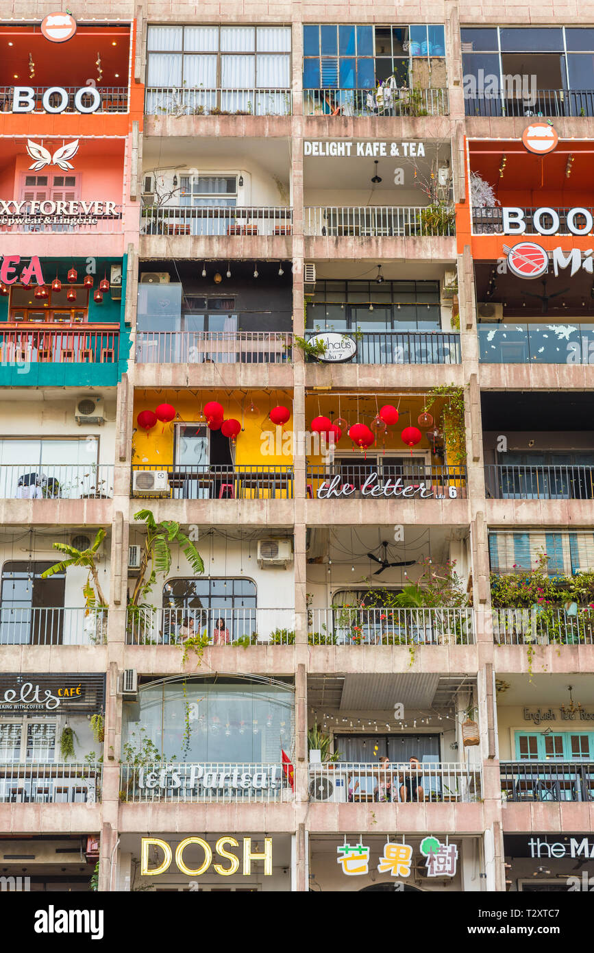 Ho Chi Minh City Vietnam February 18 2019 The Cafe Apartment A Multistory Residential Building On Nguyen Hue Street Turned Into A Cafes Hub Stock Photo Alamy