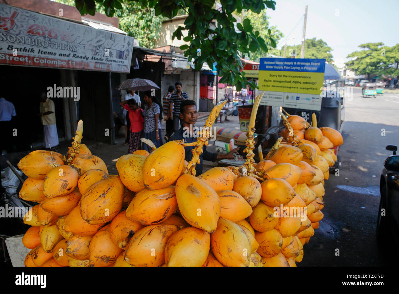 Red King coconuts for sale on the street in Colombo, Sri Lanka Stock Photo