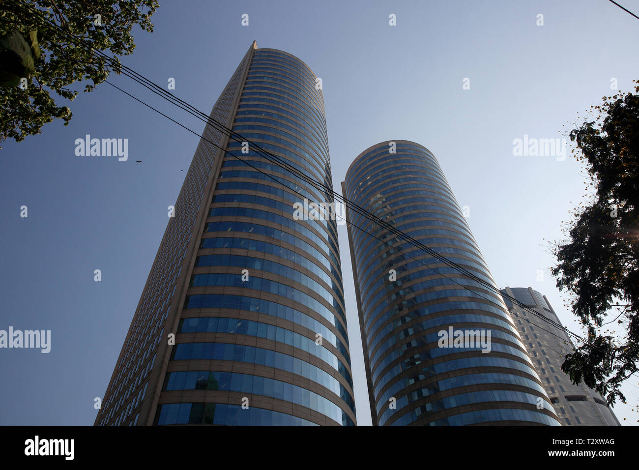 The World Trade Centre is the tallest completed building at Colombo in Sri Lanka - Stock Image