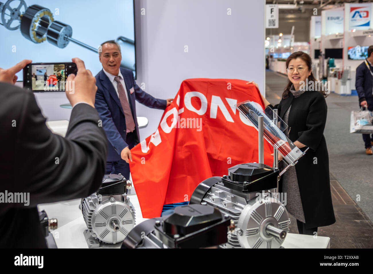 HANNOVER / GERMANY - APRIL 02 2019 : Wolong is presenting the newest innovations and drives at the HANNOVER FAIR. - Stock Image