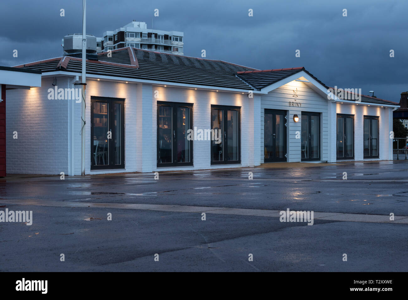 Briny restaurant Clarence esplanade Southsea in the early evening, Portsmouth, Hampshire Stock Photo