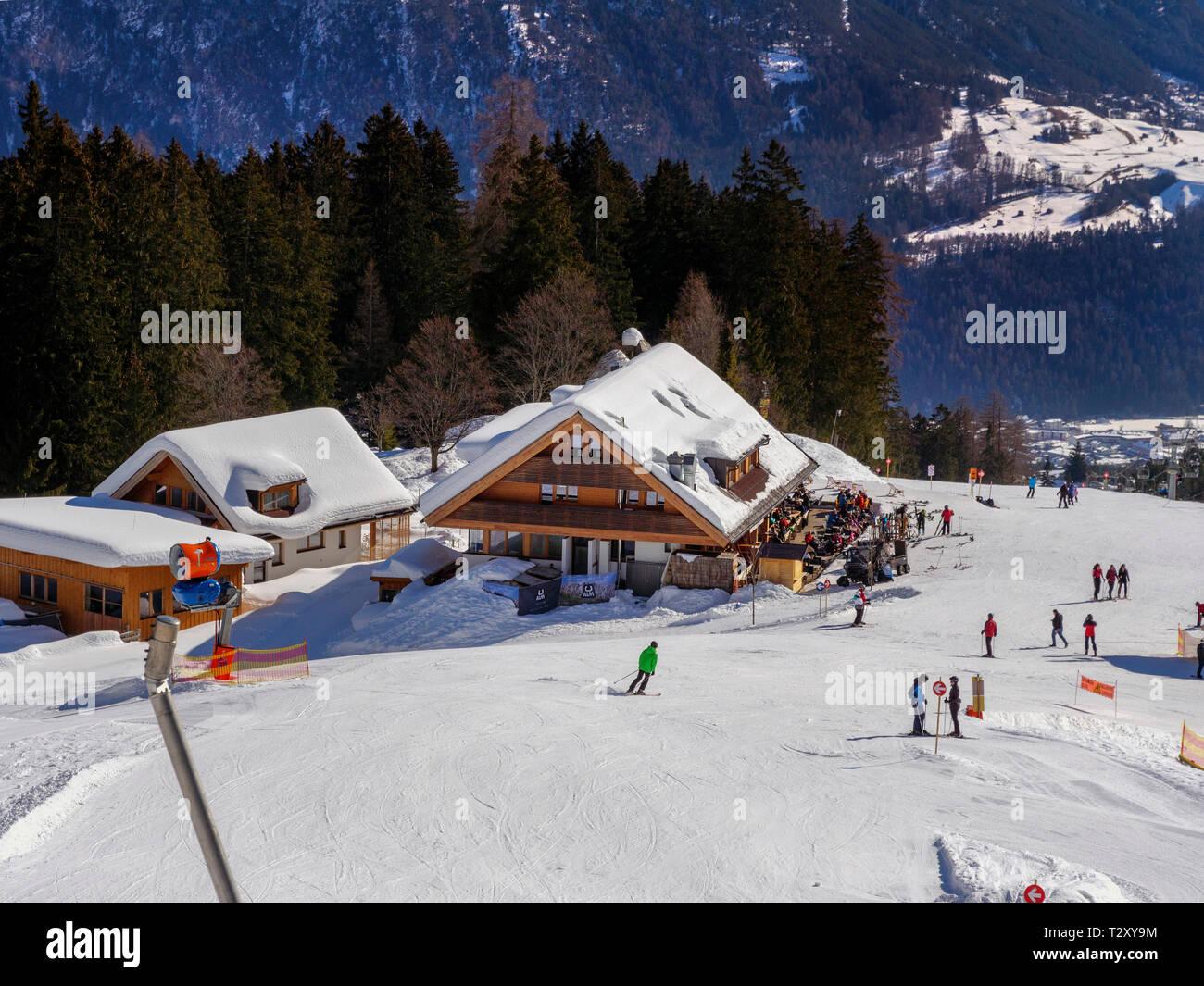 Skilift bei der Untermarkter Alm, Hochimst bei Imst, Tirol, Österreich, Europa Skilift at alp  Untermarkter Alm, skiing area Hochimst, Imst, Tyrol, Au Stock Photo
