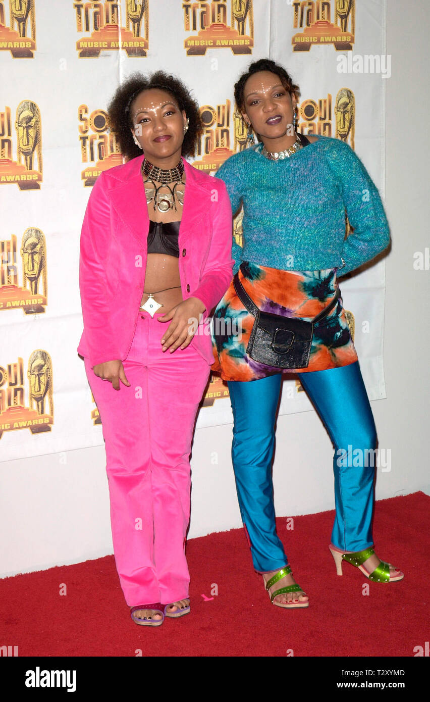 LOS ANGELES, CA. March 04, 2000:  French R&B duo LES NUBIANS - Helene & Celia Faussart - at the 14th Annual Soul Train Music Awards in Los Angeles. © Paul Smith / Featureflash  Addl info: An unconventional female duo that came out of Bordeaux, France in the 1990s, Les Nubians offered a jazzy, sophisticated style of R&B that combined French lyrics with the influence of Sade, Soul II Soul, hip hop and African pop. The duo consists of sisters Helene and Celia Faussart, who were born in France to a French father and a Cameroonian mother. After living in France as children, the siblings moved with  Stock Photo