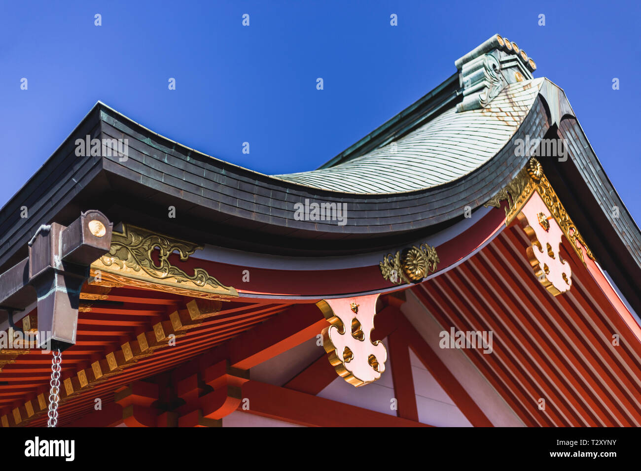 Tiled Roof Of a Shrine at Fushimi Inari in Kyoto, Japan - Stock Image