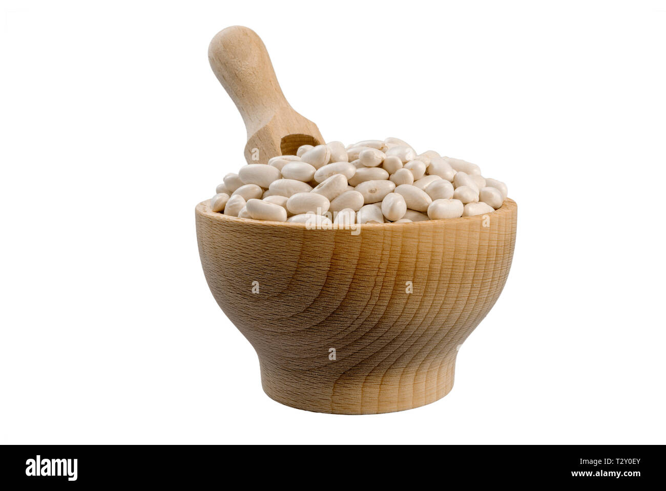 White Bean in wooden bowl and scoop isolated on white background. nutrition. bio. natural food ingredient. - Stock Image