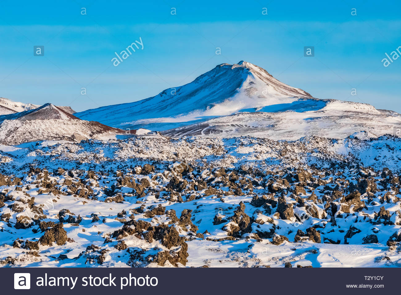 Berserkjahraun Lava Field at Bjarnarhofn on Snaefellsnes Peninsula of Iceland - Stock Image