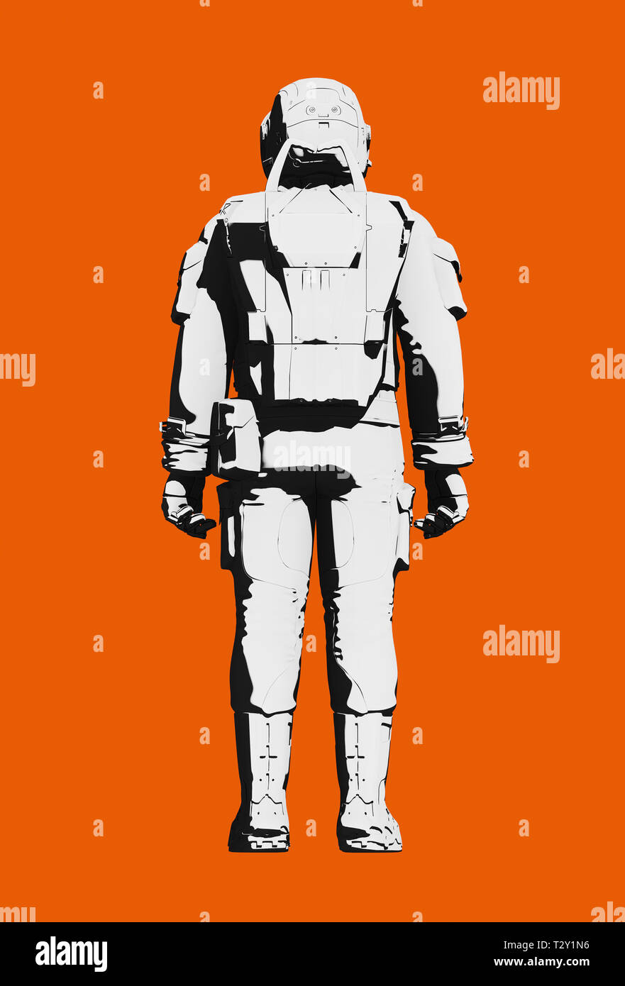 Astronaut space suit for extravehicular activity on Mars or other planet, comfortable design. Black and white on orange background. Rear view, line ar Stock Photo