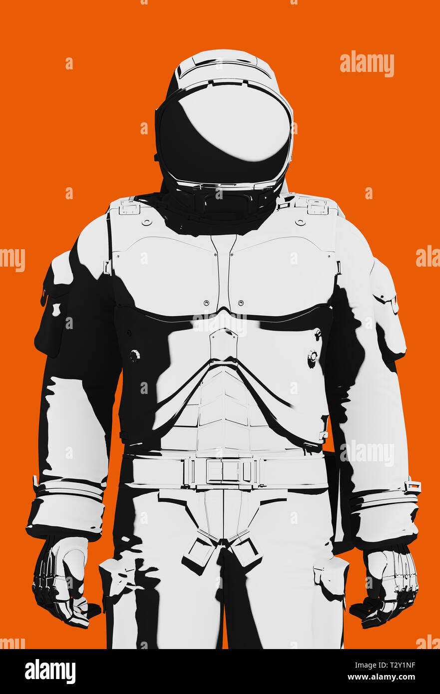 Black and white astronaut  functional extravehicular activity space suit on orange background. Front view close up, line art rendering digital illustr - Stock Image