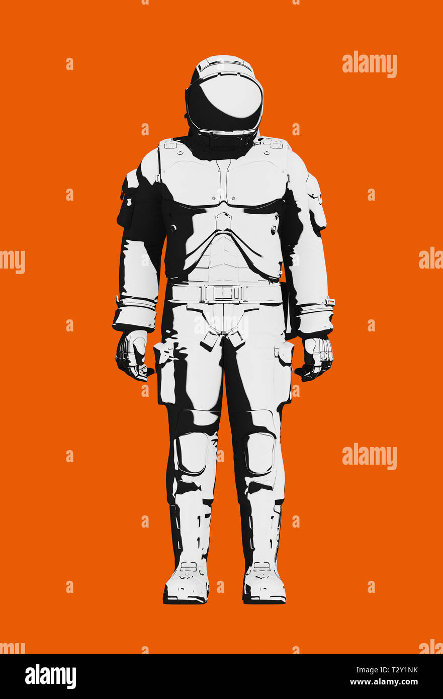 Astronaut space suit for extravehicular activity, functional design. Black and white on orange background. Front view, line art rendering digital illu Stock Photo